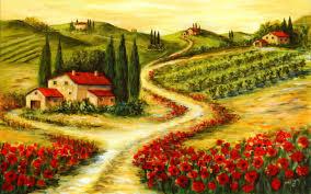 OriginalWide Poppys Cottage Vineyard Tuscan Wallpapers