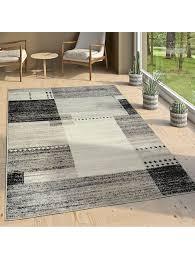 paco home designer teppich kurzflor wohnzimmer meliert karo muster in grau schwarz weiß klingel