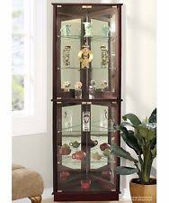 cherry corner curio cabinets display with glass doors lighted