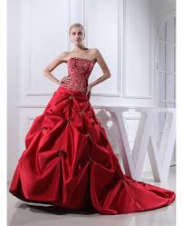 red strapless embroidery pickups color wedding dress oph1319 1