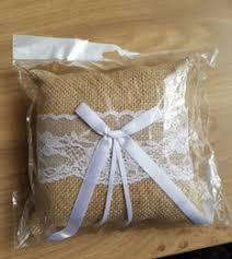1515cm Burlap Linen Rustic Wedding Ring Pillow Cushion Holder
