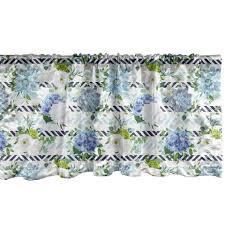 gardine vorhang volant für küche schlafzimmer dekor mit stangentasche abakuhaus hortensie frische blumen auf streifen kaufen otto