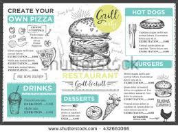 Menu Placemat Food Restaurant Brochure Template Design Vintage Creative Dinner With Hand
