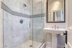 black and white chain accent border shower tiles transitional