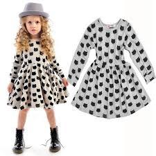 2018 Western Hot Kids Girls Cotton Dress Doll Long Sleeve Cartoon Black Cat Pattern Dressy Print Bottoming Princess From Us Baby 629