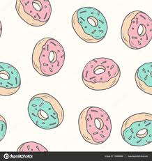 Hand drawn donut seamless pattern Pastry illustration — Stock Vector