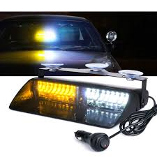 16 LED White Amber Strobe Lights For Dash / Windshield With Suction ...