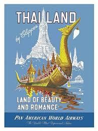 Thailand Royal Barge Pan Am Vintage Travel Poster