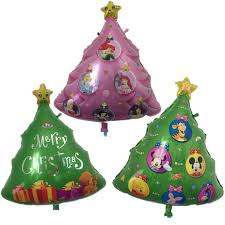 BINGTIAN Christmas Tree Shaped Foil Balloons Catoon Animal Pink Princess Balloon Decoration