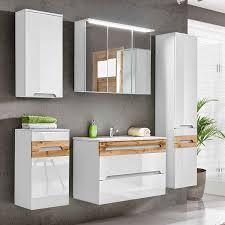 lomado badezimmer komplett set lajas 56 hochglanz weiß mit wotaneiche 80cm waschtisch mit keramik becken b x h x t ca 180 x 200 x 45 cm