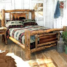 Western Style Headboard Aspen Log Bed Frame Country Rustic Wood Bedroom For Designs 0