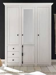 guenstigeinrichten kleiderschrank landhausstil hooge in pinie weiß landhaus drehtürenschrank 4 türig mit spiegel 147 x 206 cm schlafzimmerschrank