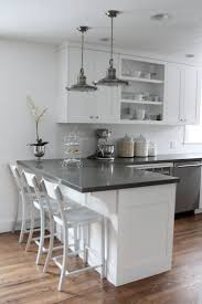 White Cabinets Dark Countertop Backsplash by Best 25 White Kitchen With Gray Countertops Ideas On Pinterest