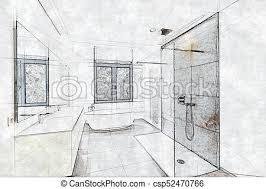 skizze eines vergoldeten badezimmers und dusche skizze