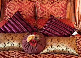 Purple Velvet King Headboard by King And Queen Bed Decorative Pillow Arrangements