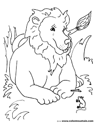 Lion And Mouse Coloring Page KIDS