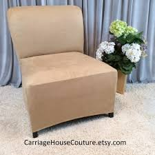 Slipcover Beige Suede Stretch Chair Cover For Armless Sofa Covers Il Full