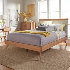 King Platform Bed With Fabric Headboard by Homesullivan Holbrook Natural Queen Platform Bed 401915 1b The