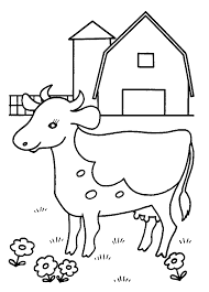 Preschool Farm Cow Coloring Pages