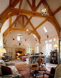 Rustic Gothic Beams Frame The Dramatic High Ceiling