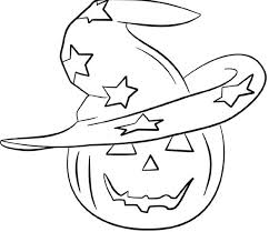 Head Pumpkin And Witch Hat Coloring Pages