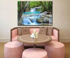 wandbild wasserfall im wald wand bilder dekoration wohnung modern wanddeko groß für wohnzimmer wb0485