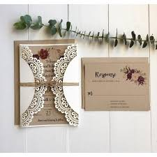 Laser Cut Wedding Invitation Rustic