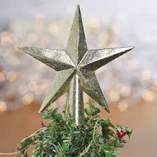 Small Gold Glittered Star Tree Topper