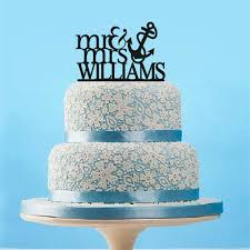 Personalized Wedding Cake Topper With AnchorCustom Mr And Mrs Last Name