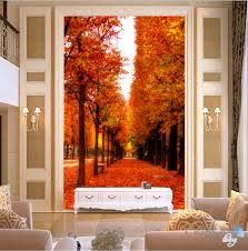 Wall Mural Decals Tree by 3d Leaves Fall Tree Corridor Entrance Wall Mural Decals Art Print
