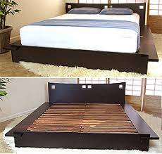This Japanese platform bed is made of 100% solid Para hardwood