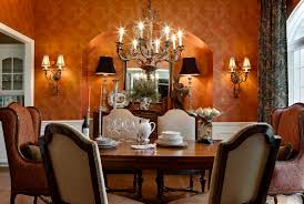 Brown Wallpaper With Antique Wall Light Fixtures And Upholstered Dining Chairs Set Also Vintage Chandelier