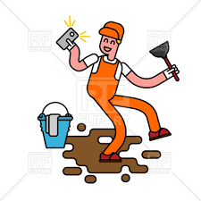 Cleaner selfie Janitor with plunger royalty free vector vector