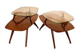 Pair Mid Century Modern Two Tier Pearsall Style Tables -