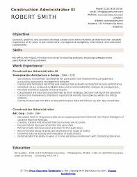 Construction Administrator III Resume Template