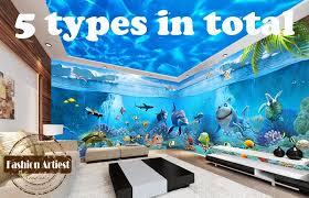große wand 3d dolphin tapete wandbild seeozean live fisch aquarium sofa tv schlafzimmer wohnzimmer cafe bar restaurant hintergrund