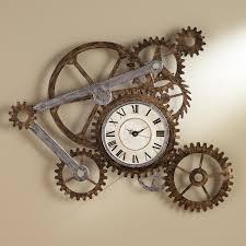 Moving Gear Wall Clock Elegant Southern Enterprises Metal Art Hand
