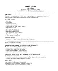 Samples Of Medical Assistant Resumes Resume Sample Entry Level