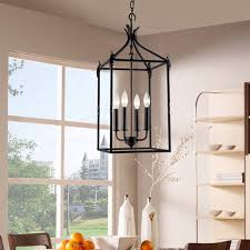 Marvelous Lantern Chandeliers Rectangular Chandelier For Dining Room Beatriz 4 Light Black Classic