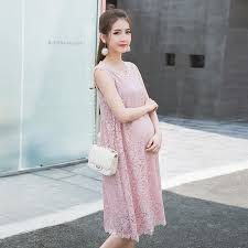 9013 Pink Sleeveless Hollow Out Lace Maternity Dress 2017 Summer Korean Fashion Clothes For Pregnant