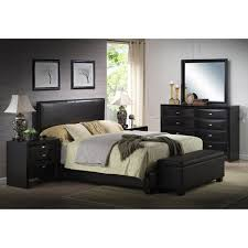 ireland queen faux leather bed black walmart com