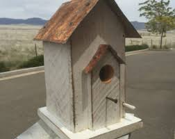 Primitive Bird House Antique Style Functional Tin Roof
