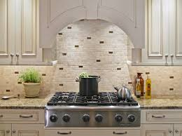 White Brick Backsplash Tiles For Kitchen In Country Style Marble Counter Modern Gas Stove Unit