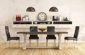 schwarz weiß retro esszimmer mit alten tisch und stühle 3d interior