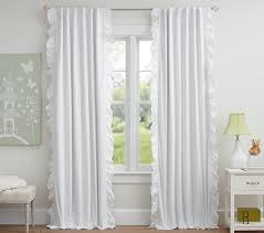 enchanting white ruffle blackout curtains and ruffle trim blackout