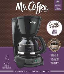Amazon Mr Coffee 4 Cup Switch Maker With Gold Tone Filter Black Drip Coffeemakers Kitchen Dining