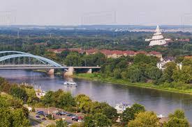 100 Magdeburg Water Bridge Germany SaxonyAnhalt River Elbe And Millennium Tower In Elbauenpark Stock Photo