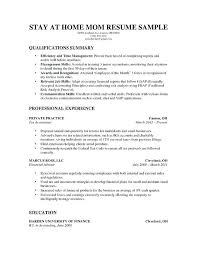 Resumes For Moms Reentering The Workforce Resume Template Stay At Home Mom Going Back To
