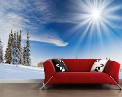 nach papel de parede 3d bäume schnee sonnenschein wandbild für wohnzimmer sofa tv wand schlafzimmer wand papier