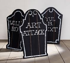 Halloween Tombstone Names by Chalkboard Tombstones Set Of 3 Pottery Barn